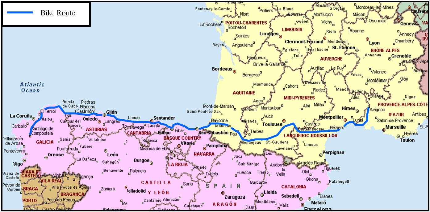 ... map of france and spain ...